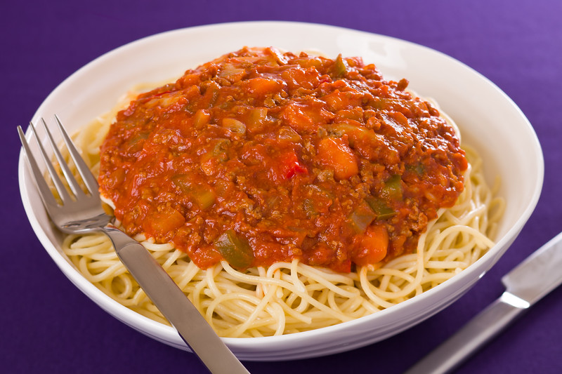 Spaghetti pasta with meat sauce. Shallow depth of field.