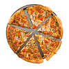 Sliced vegetable pizza isolated on white background. Clipping path.