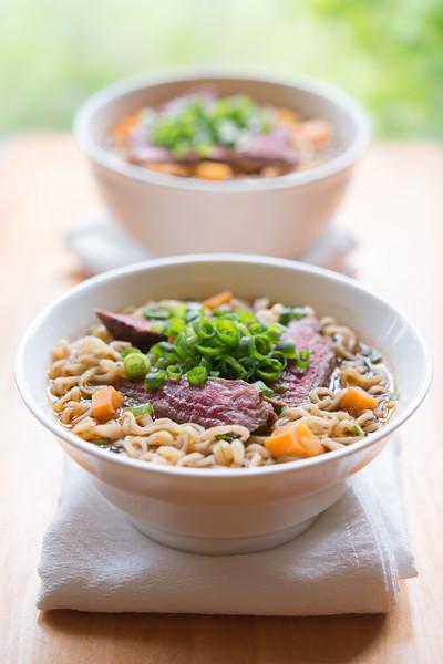 Oriental beef noodle meal