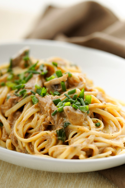 Pasta with mushroom sauce and duck meat. White plate with brown background.