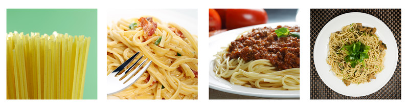 Cooked and uncooked pasta collage from four photographs.