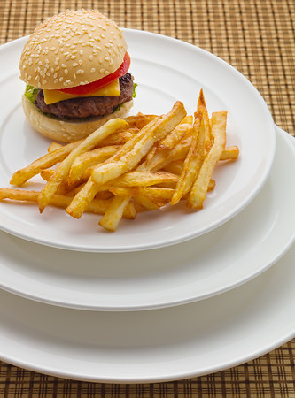 Mini burger with french fries.