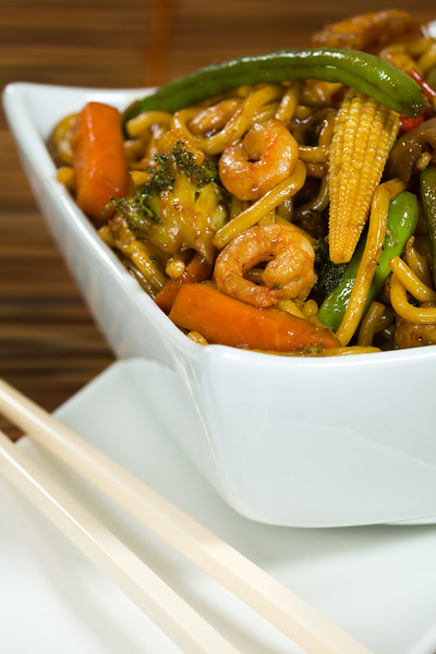 Stir-fry with vegetable and shrimp. Very shallow depth of field.