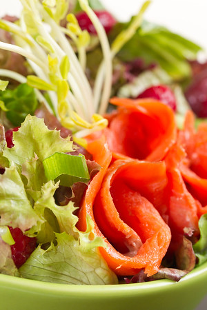 fresh smoked salmon sockeye salad with lettuce and vegetable. Shallow depth of field.
