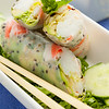 Wrapped spring roll in a plate