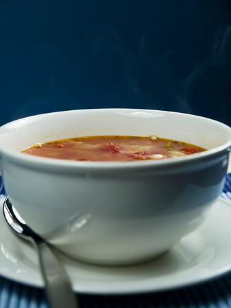 hot soup on a bowl