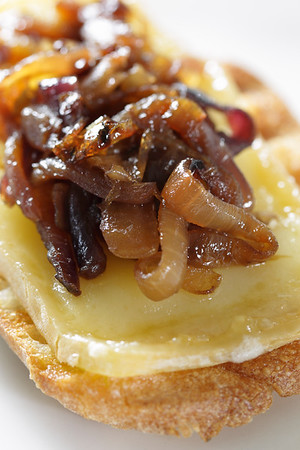 Caramelized onion on a bread portion with warm cheese. Very shallow depth of field.