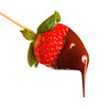 Isolated strawberry with chocolate sauce on it. Concept about love and food.