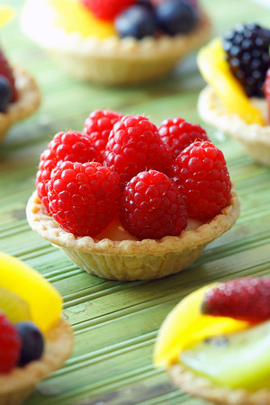 mini fruit tart. Very tasty dessert with a lot of color. Shallow depth of field.