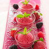 Fresh and healthy ice cream sorbet made with real fruit like strawberry and berry.Very shallow depth of field.