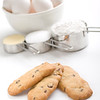 cookies on a white backgroud with ingredients . Focus on the cookies