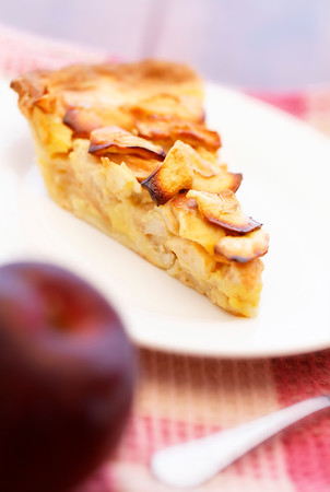 apple pie dessert with selective focus. Very shallow depth of field.