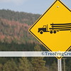[014] Logging truck highway sign with mountain pine beetle killed stand in the background.