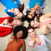 diversity, race, ethnicity and people concept - international group of happy smiling different women