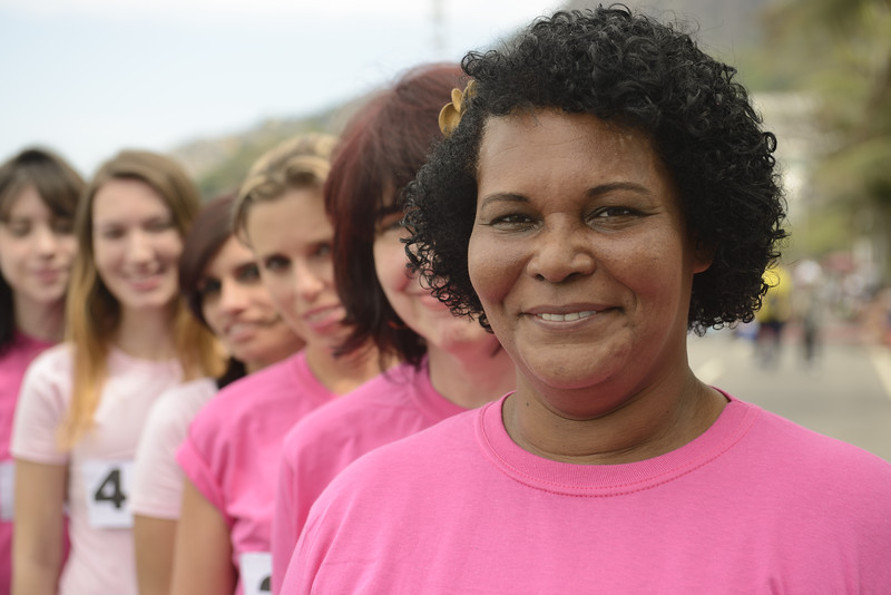 Breast cancer awareness charity race: Multiethnic group of women in pink