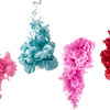 set of colorful ink isolated on a white background. a red, pink, blue drop swirling under water. Cloud of ink in water.