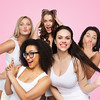 friendship, beauty, body positive and people concept - group of happy plus size women in white under