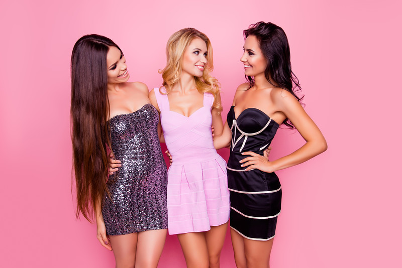 Portrait Of Three Cute, Nice, Slim, Attractive Girls, In Short Dresses, Looking To Each Other, Havin