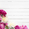 Floral frame / background with beautiful pink, purple and white peonies on old white wooden background. Shabby chic, vintage flowers for wedding, Happy Mother's day or Women's day