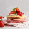 Stack Of Pink Ombre  Pancakes With Marshmallow. Breakfast Background, Copy Space.
