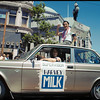 Anne Kronenberg driving newly elected Supervisor Harvey Milk in the SFLGBT Pride parade, 1978_06