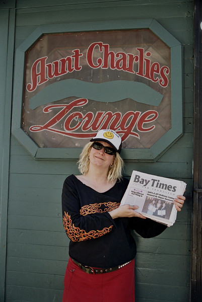 Andrea Bouzwah in front of Aunt Charlies Bar on the occasion of Compton's Cafeteria Riots Commemoration, June 22, 2006