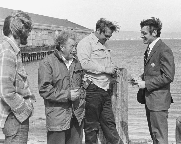 Harvey Milk campaigning with longshormen at San Francisco Wharf during his bid for California Assembly<br /> Spring 1976
