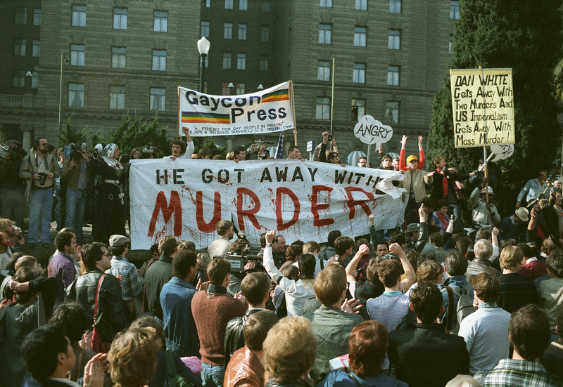 Demonstration protesting Dan White's release from prison, January, 6, 1984s