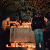 Mourners place candles on the Lincoln memorial at San Francisco City Hall in honor of assassinated leaders; Supervisor harvey Milk and Mayor George Moscone; both men heros of the LGBT civil rights movement. November 1979
