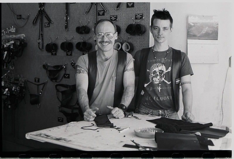 Teabag (right) and friend at Image Leather, San Francisco, April 2, 1995