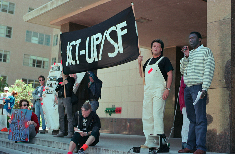 Act Up protests UCSF placebo trials of babies with HIV, 1989_06_17