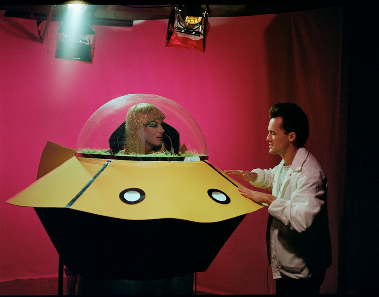 Arturo Galster and Doris Fish, on the set of the film; Vegas In Space, May 13, 1984