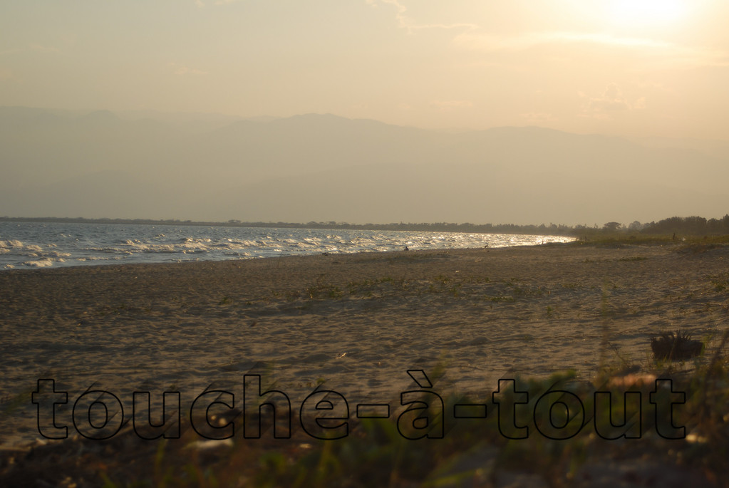 Sunset over the beach on the shores of Lake Tasnganyika, Bujumbura, Burundi