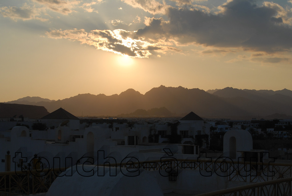 Sunset over rooftops, Sharm El-Sheikh, Egypt