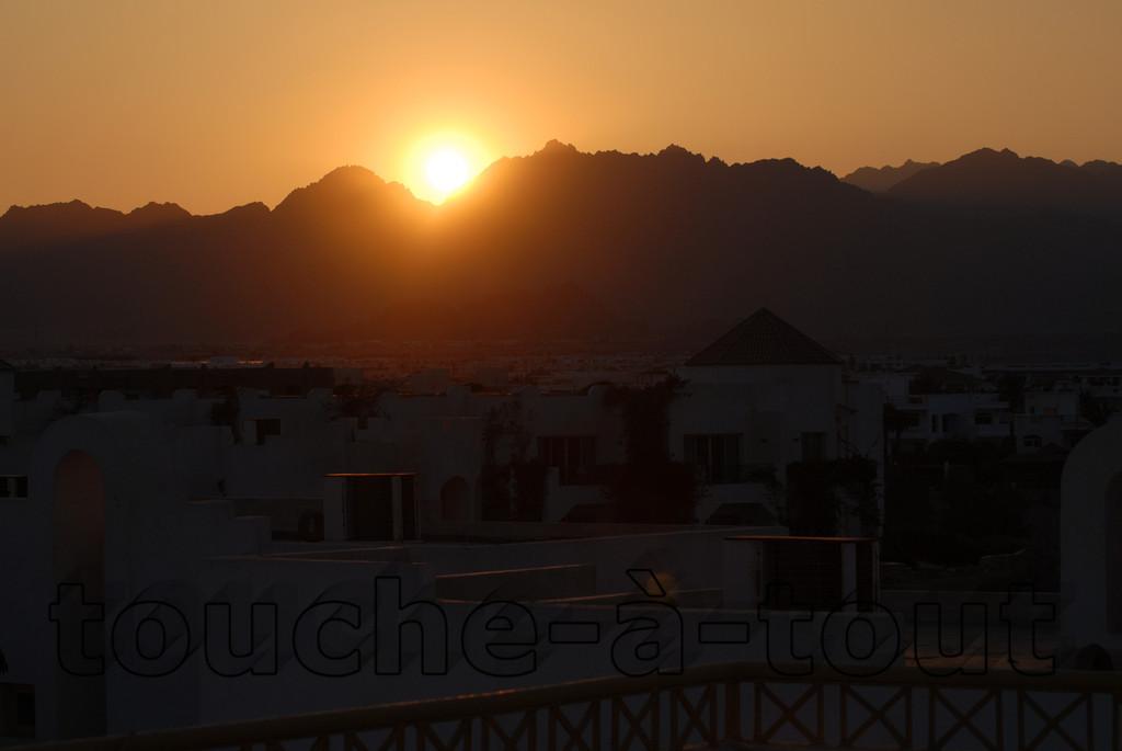 Sunset over rooftops, Sharm El-Sheikh, Egypt