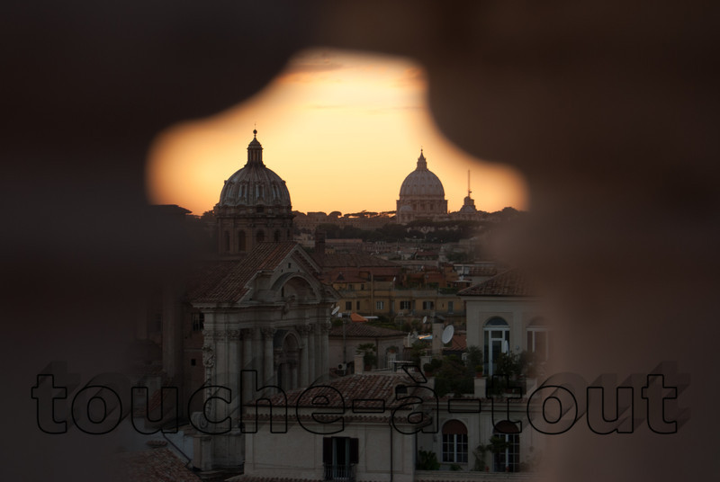 Rome<br /> Looking towards St. Peter's from between the bannisters by the monument Vittorio Emmanuele
