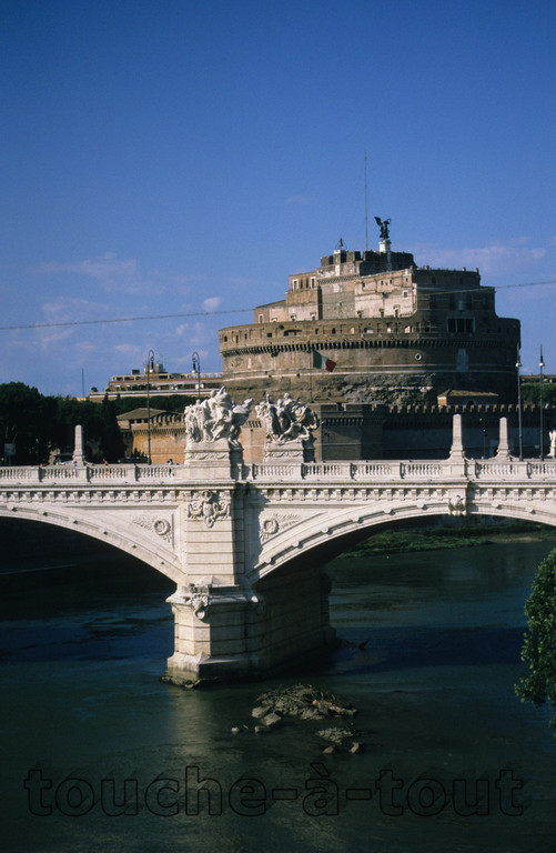 Ponte Vittorio Emanuele II and Castel Sant' Angelo from the banks of the river Tevere