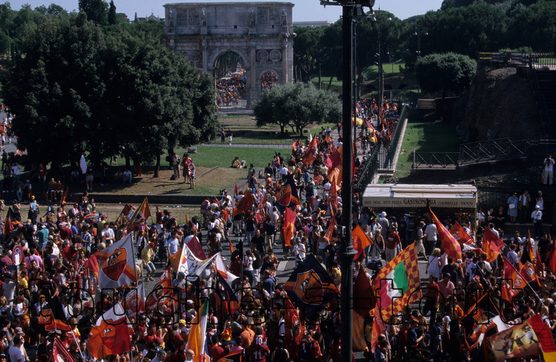 Celebrating Roma's victory, Colosseum, Rome