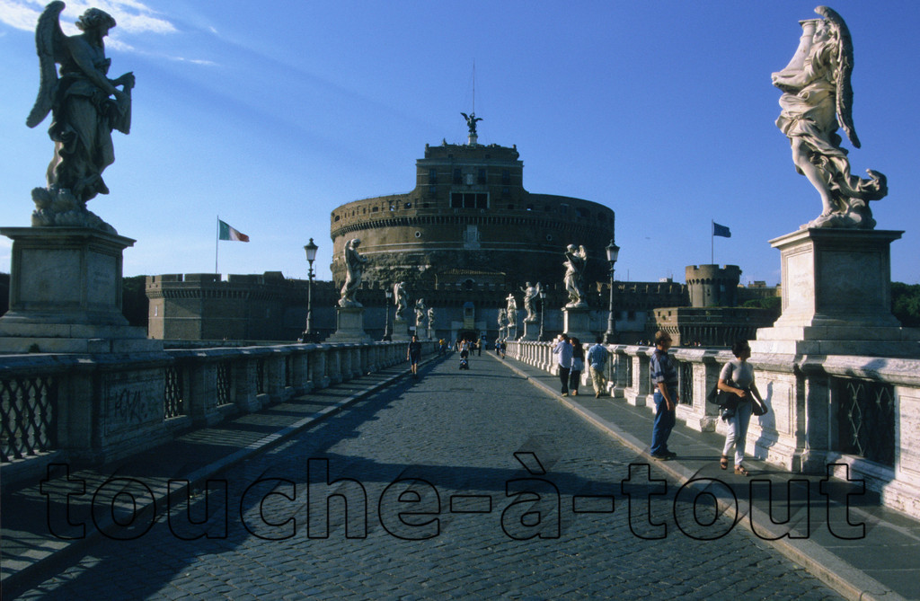 View of Castel Sant' Angelo along Ponte Sant' Angelo<br /> View of Castel Sant' Angelo along Ponte Sant' Angelo