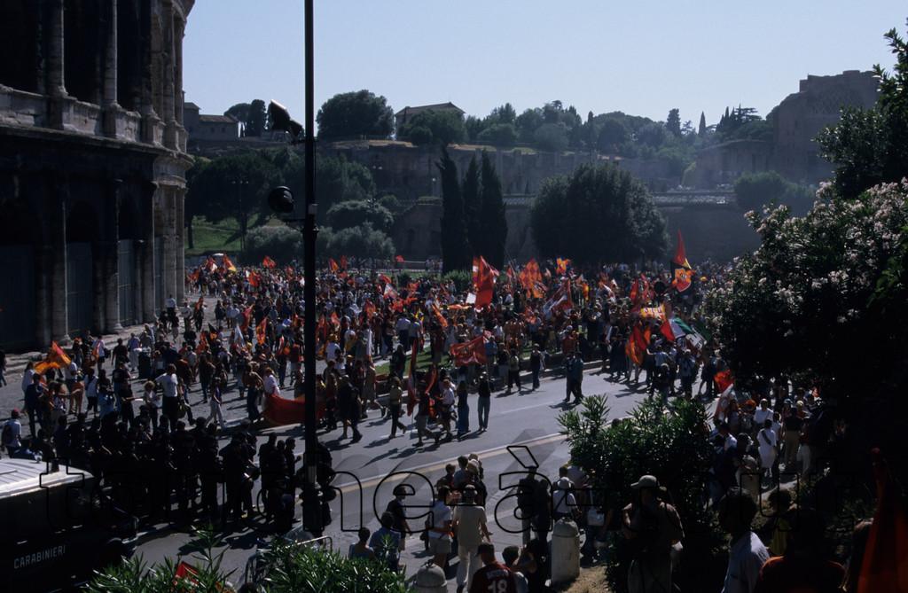 Celebrating Roma's victory, Colosseum, Rome