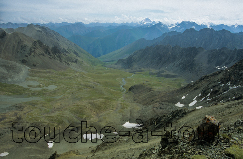 Looking down from the ridge above Ala-Kul, Kyrgyzstan