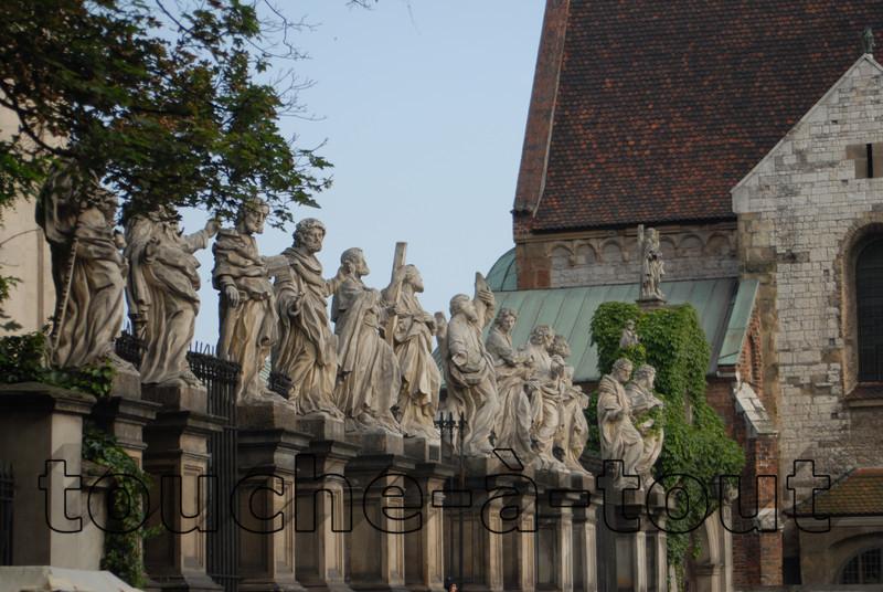 Statues outside a church in Krakow, Poland