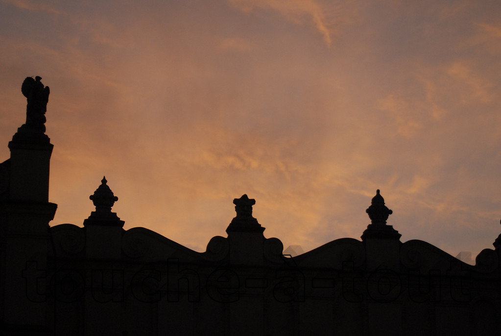 Silhouetted rooftops, Krakow, Poland