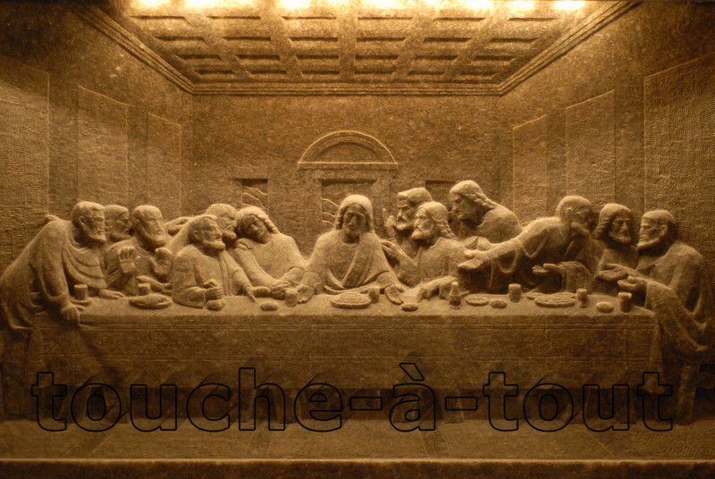 Carving of the Last Supper into the walls of the cathedral at Wieliczka Salt Mine, Poland