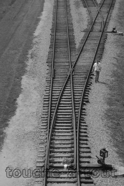 Railway tracks from main gate at Auschwitz-Birkenau death camp, Poland