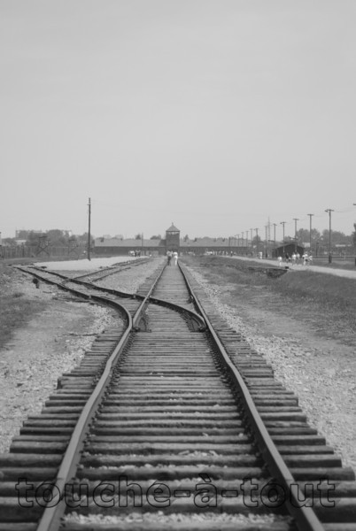 Looking towards the main gate, Auschwitz-Birkenau death camp, Poland