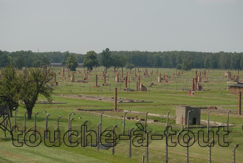 Chimney stacks left standing at Auschwitz-Birkenau death camp, Poland