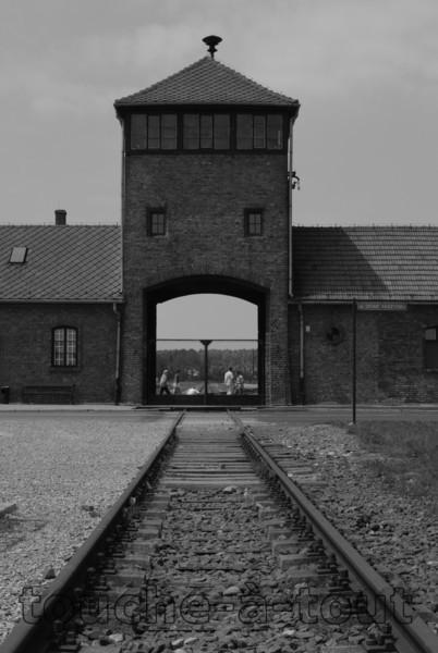Auschwitz-Birkenau death camp, looking towards the main gate, Poland