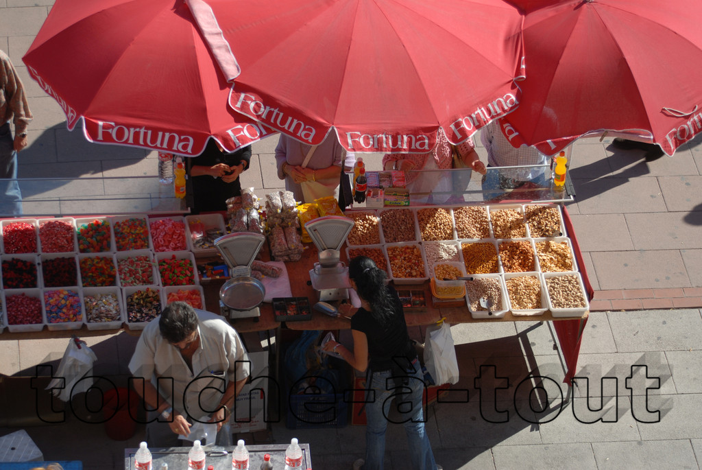 Market stall outside Las Ventas stadium, Madrid