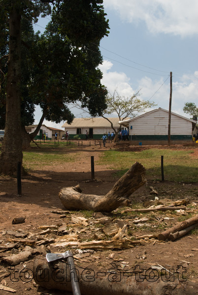 Chopping wood at a school in the slums of Kampala, Uganda